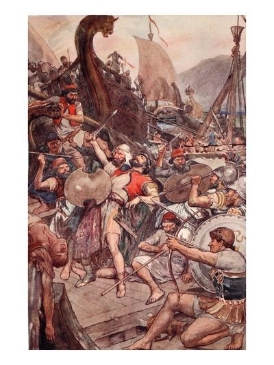 Death of the Persian Admiral at Salamis, Illustration from 'Plutarch's Lives for Boys and Girls'-William Rainey-Giclee Print