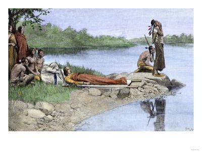 Death of Wampanoag Chief Wamsutta, or Alexander--Giclee Print