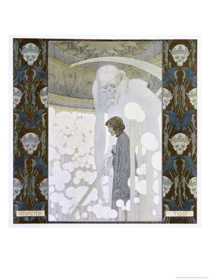 Death Personified as the Grim Reaper-Heinrich Lefler-Giclee Print