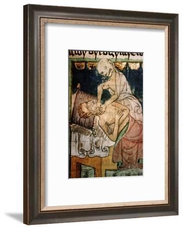 Death strangling a victim of the Black Death, 1376-Werner Forman-Framed Photographic Print