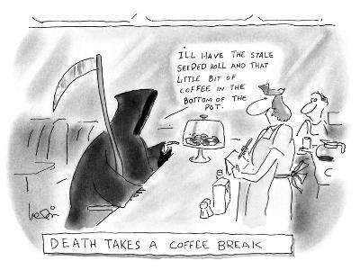 DEATH TAKES A COFFEE BREAK - New Yorker Cartoon-Arnie Levin-Premium Giclee Print