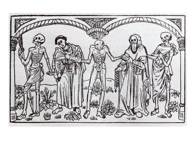 Death Taking the Monk and the Abbot, from the Danse Macabre, published Paris, 1485-Guy Marchant-Giclee Print