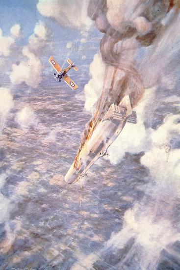 Death to the Murderers' - Lt Warneford Shoots Down a Zeppelin Raider-Frederick Gordon Crosby-Giclee Print
