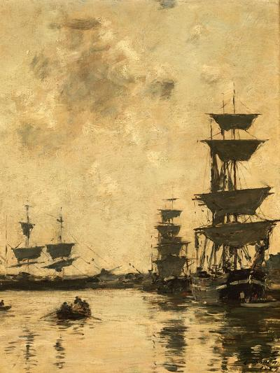 Deauville: Schooners at Anchor, 1887-Eug?ne Boudin-Giclee Print