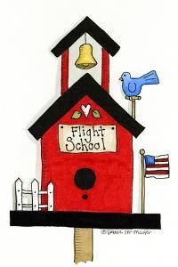 Flight School Birdhouse by Debbie McMaster