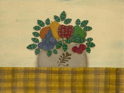 Fruit with Gold and Brown Tablecloth