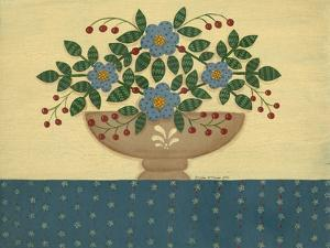 Lt. Blue Flowers with Dark Blue Talecloth by Debbie McMaster
