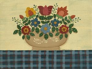 Multi-Colored Flowers with Dark Blue Tablecloth by Debbie McMaster