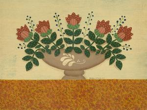 Orange Flowers with Gold Orange Tablecloth by Debbie McMaster