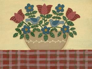Red and Blue Flowers with Red Tablecloth by Debbie McMaster