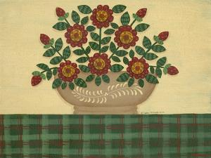 Red Flowers with Dark Green Tablecloth by Debbie McMaster