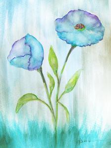 Floral Blue 1 by Debbie Pearson