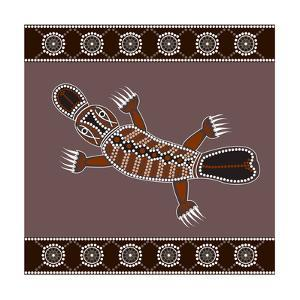 A Illustration Based On Aboriginal Style Of Dot Painting Depicting Platypus by deboracilli