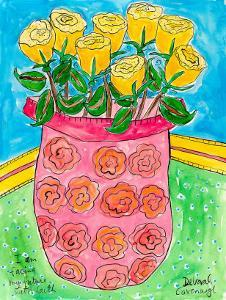 Vase of Yellow Roses by Deborah Cavenaugh