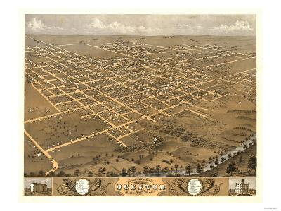 Decatur, Illinois - Panoramic Map-Lantern Press-Art Print