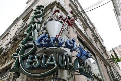 Decayed Restaurant, Neon Sign, Avenida Da Liberdade, District Sao Jose, Lisbon, Portugal-Axel Schmies-Photographic Print