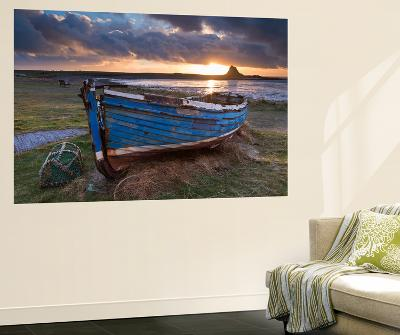 Decaying Fishing Boat on Holy Island at Dawn, with Lindisfarne Castle Beyond, Northumberland-Adam Burton-Wall Mural