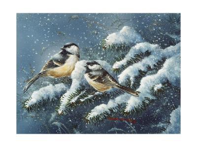 December Chickadees-Wanda Mumm-Giclee Print