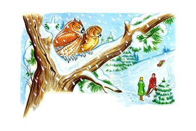 December Owls - Jack & Jill-Patricia Lynn-Giclee Print