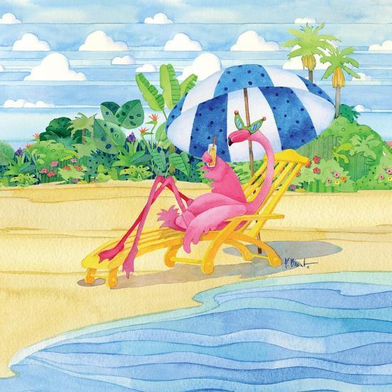 Deck Chair Flamingo-Paul Brent-Art Print