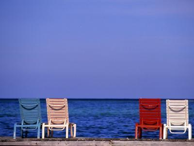 Deck Chairs, Ambergris Caye, Belize-Michael DeFreitas-Photographic Print