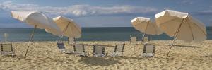 Deck Chairs and Beach Umbrellas on the Beach, Jetties Beach, Nantucket, Massachusetts, USA