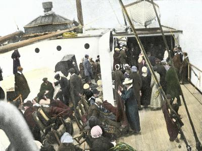 Deck of the Carpathia Crowded with Titanic Survivors--Giclee Print