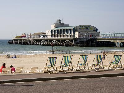 Deckchairs, Beach and Pier, Bournemouth, Dorset, England, United Kingdom, Europe-Rainford Roy-Photographic Print