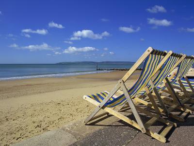 Deckchairs on the Promenade Overlooking Beach, West Cliff, Bournemouth, Dorset, England, UK-Pearl Bucknall-Photographic Print