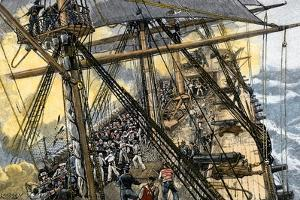 "Deckhands in Action on the USS ""Constitution"" Against the ""Levant and Cyane,"" War of 1812"