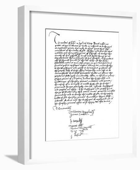Declaration of the Bishops in Favour of King Henry VIII's Powers, 16th Century--Framed Giclee Print