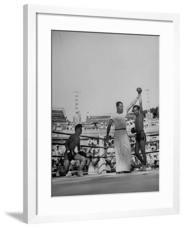"""Declaring the Winner of a Match of a Thai Boxing Game Called """"Muay Thai""""--Framed Photographic Print"""