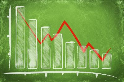 Declining Bar Chart Drawn on a Green Chalkboard-Viorel Sima-Art Print