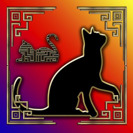 Deco Cats 3 Frame 2-Art Deco Designs-Giclee Print