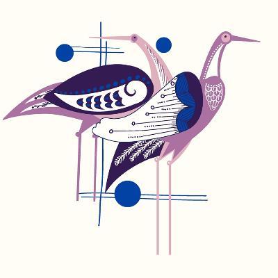 Deco Cranes--Giclee Print