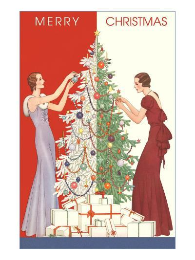 Deco Merry Christmas with Tree and Presents--Art Print