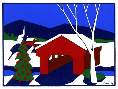 Decorated Christmas Tree Next to Covered Bridge-Crockett Collection-Giclee Print