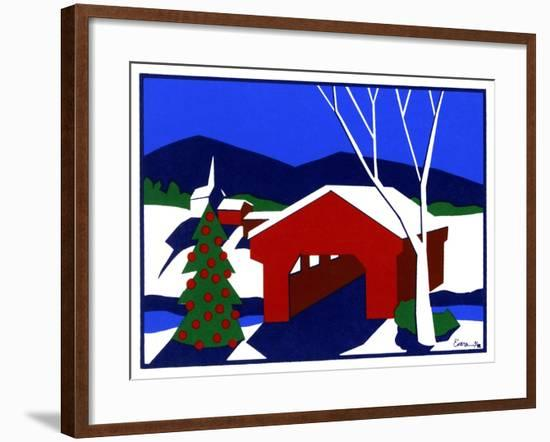 Decorated Christmas Tree Next to Covered Bridge-Crockett Collection-Framed Giclee Print