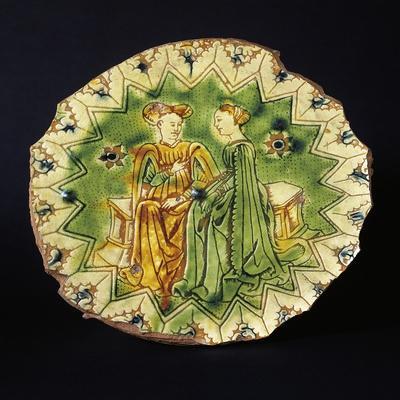 Decorated Circular Stand, Ceramic, Ferrara Manufacture, Emilia-Romagna, Italy, 16th Century--Giclee Print