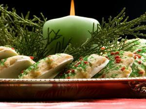 Decorated Holiday Cookies with Candle