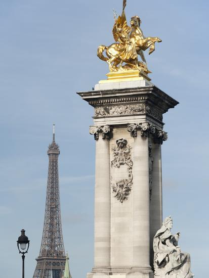 Decorated Pillar of Alexandre Iii Bridge and the Eiffel Tower, Paris, France, Europe-Richard Nebesky-Photographic Print