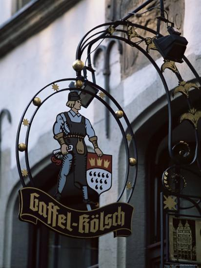 Decorated Sign of Locally Produced Beer Called Gaffel Kolsch in Old Town, North Rhine Westphalia-Yadid Levy-Photographic Print