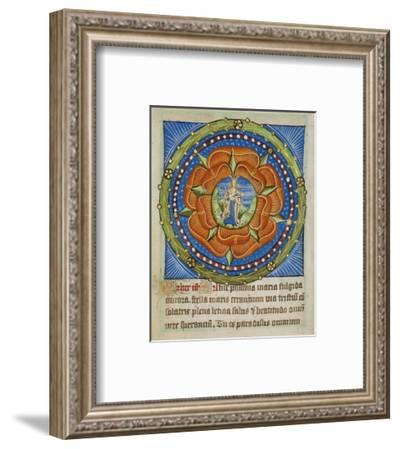 Decorated Text Page - Mary and Jesus in a Rose-Unknown 12 Century Illuminator-Framed Art Print