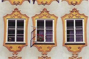 Decorated Windows of Building on Getreidegasse