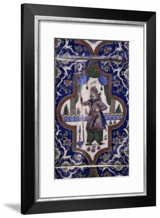 Decoration Depicting Soldier of Royal Guard, Glazed and Painted Ceramic, Iran--Framed Giclee Print