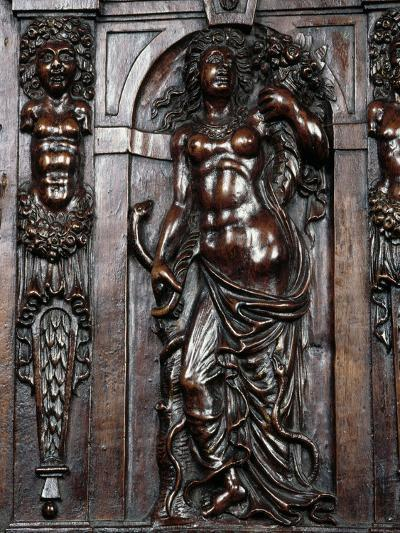 Decoration on Carved Walnut Sideboard--Giclee Print