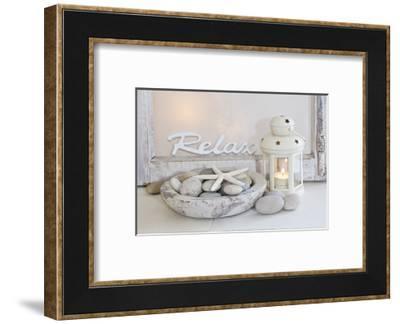 Decoration, White, Window Frame, Lettering, Relax, Lantern, Candle, Bowl, Stones, Starfish-Andrea Haase-Framed Photographic Print