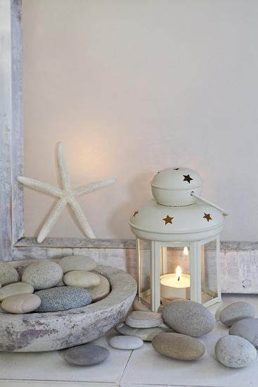 Decoration, White, Window Frames, Lantern, Candle, Bowl, Stones, Starfish-Andrea Haase-Photographic Print