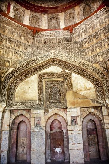 Decorations Inside Ancient Sheesh Shish Gumbad Tomb Lodi Gardens, New Delhi, India-William Perry-Photographic Print