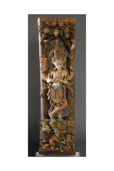 Decorative Bracket from Roof of Temple, Colored Wood, Nepal--Giclee Print